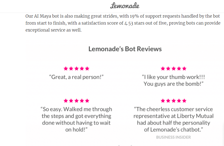 Lemonade Chatbot Maya